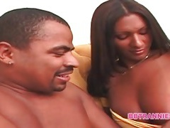 Dark dick sucked on by beautiful shemale tubes