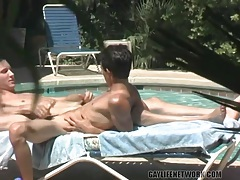Guys fuck poolside as a voyeur watches them tubes