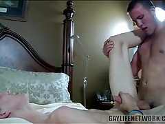 Skinny boy tops a tight ass bottom doggystyle tubes