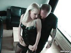Blonde hooker in leather bent over and fucked tubes