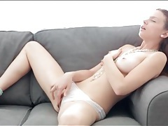 Teen caresses her big tits and masturbates tubes