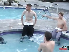 Pool party with smooth skater boys tubes