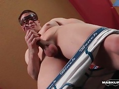 Smooth and fit guy strokes in hotel room tubes