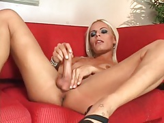 Gorgeous blonde shemale strips and sucks dick tubes