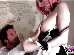 Cute maid costume and pink hair on girl he fucks tubes