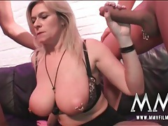 Heavily pierced blonde fucked in threesome tubes