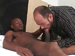 Sweaty bear sucks big black cock passionately tubes