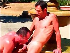 Sweaty gay matures sucking cock outdoors tubes