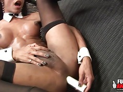 Fit shemale sensually toys her asshole tubes