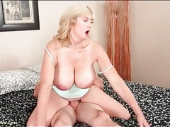 Desperately horny mom sits on his hard dick tubes