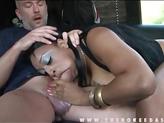 Fat black chick sucks a dick on the party bus tubes