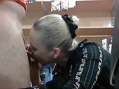 Amateur blonde blows him to erection for sex tubes