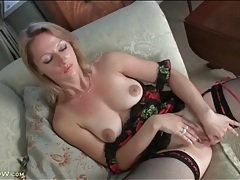 Lingerie is flawless on masturbating mom tubes