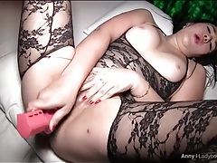 Curvy asian toys her post op pussy tubes