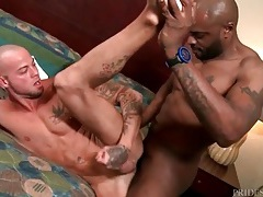 Black gay hottie rims and fucks tight white ass tubes