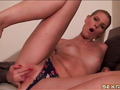 Blonde panty girl rubs her throbbing clit tubes