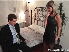 Skinny stockings girl blows and fucks him tubes