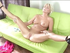 Pink satin dress on sexy milf chloe deluxe tubes