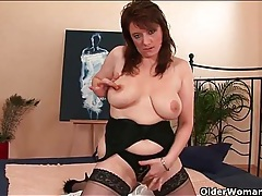 Big boobs mom in stockings fucked doggystyle tubes
