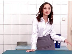 Tight skirt and blouse look hot on nataly von tubes