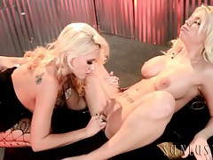 Beautiful bleach blonde pornstars have lesbian sex tubes