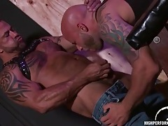 Leather bears lick ass and suck dick in threesome tubes