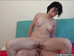 Old lady with a hot body fucks his young dick tubes