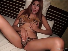 Ladyboy in leopard print fingers her pussy tubes