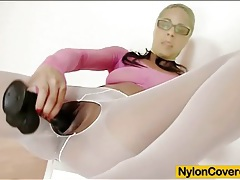 Cute nerd stars in sexy pantyhose fetish video tubes
