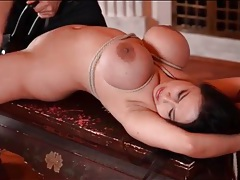 Tigerr benson tied and ass fucked by a toy tubes