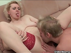 Old lady in lingerie fucked by college guy tubes
