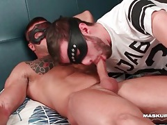 Two cumshots on hot guy with muscles tubes