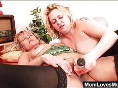 Gentle lesbian licking with two old ladies tubes