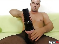 Hot body in black pantyhose as he beats off tubes