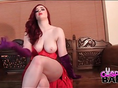 Curvy redhead sizzles in jessica rabbit costume tubes
