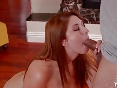 Redhead sucks dick and gets a facial tubes