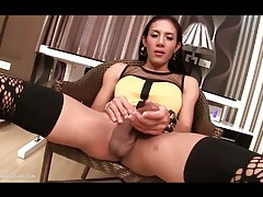 Masturbating asian shemale in stockings tubes