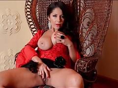 Glamorous milf goddess in red lipstick tubes