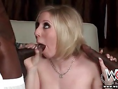 White housewife slut blows two black dicks tubes