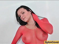 Babe wears red pantyhose for clothes tubes