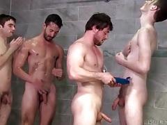 Three cumshots on a cute gay bottom tubes