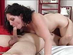 Mom with long curly hair sucks his dick tubes