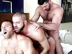 Gay bear anal threesome ends in hot cumshots tubes