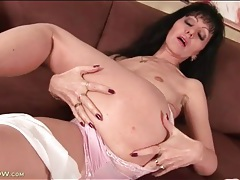 Solo mature fondles her perky tits lustily tubes