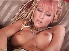 Braided hair mom fondles her fake tits tubes
