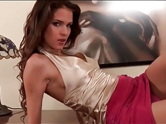 Sensual solo tease with girl in satin halter top tubes
