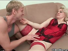 Sexy lingerie granny stripped and fucked tubes