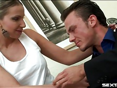 Secretary slut in short skirt blows her boss tubes