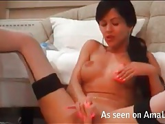 Latina webcam hottie in stockings fucks a toy tubes