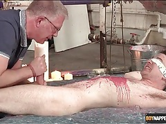 Kinky hot wax play and handjob for a submissive tubes